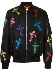 Moschino Cross Embellished Bomber Jacket Black