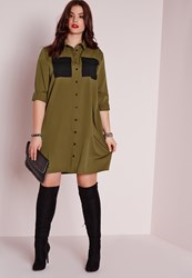Missguided Plus Size Military Pocket Shirt Dress Khaki Beige