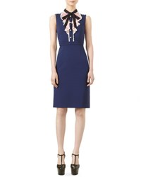 Gucci Sleeveless Jersey Dress With Ruffle Front Nuit Rose Black