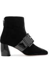 Miu Miu Buckled Patent Leather And Velvet Ankle Boots Black