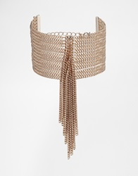 Fleur East By Lipsy Tassel Curb Chain Bracelet Gold