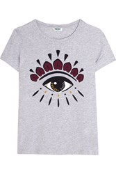 Kenzo Icon Printed Cotton Jersey T Shirt Light Gray