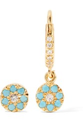 Ileana Makri Little Round Eye Gold Plated Cubic Zirconia Earrings Gold Light Blue