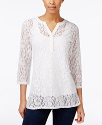 Charter Club Three Quarter Sleeve Lace Tunic Only At Macy's Bright White