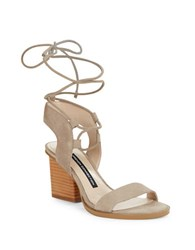 French Connection Jalena Suede Lace Up Sandals Earth