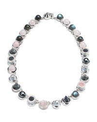 Eddie Borgo Collage Hematite And Rose Quartz Cabochon Necklace Silver