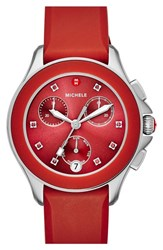 Michele Women's 'Cape' Chronograph Silicone Strap Watch 34Mm Red Silver
