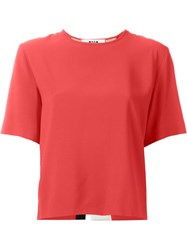 Msgm Striped Back T Shirt Blouse Red