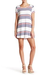 Peach Love California Striped Short Sleeve Dress Blue