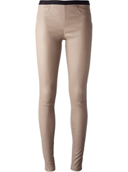 Helmut Lang Lambskin Skinny Trouser Nude And Neutrals