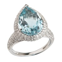 Emily Mortimer Jewellery Aqua Sky Blue Topaz And Diamond Ring Blue Silver