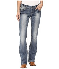 Stetson 818 Contemporary Bootcut With Heavy Contrast Stitch And Flap Back Pocket Blue Women's Jeans