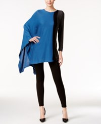 Alfani Asymmetrical Colorblocked Poncho Sweater Only At Macy's Colorblock Blue