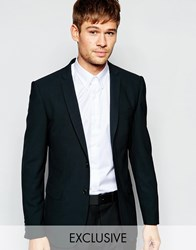 Number Eight Savile Row Exclusive Wool Mix Blazer With Stretch In Skinny Fit Black