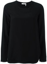 Chloe Scalloped Blouse Black