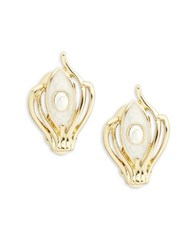 House Of Harlow Abstract Clip On Earrings White