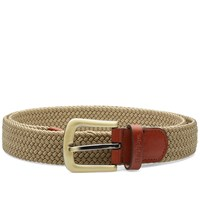 Barbour Stretch Webbing Leather Belt Brown