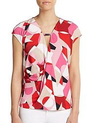 Geometric Print Draped Front Top Kinetic Multi
