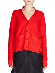 Sacai Lace Back Wool Cardigan Red