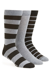 Sperry 'Core' Crew Socks Assorted 3 Pack Black Charcoal Heather