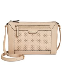 Tignanello Frame Perforated Leather Crossbody Dune