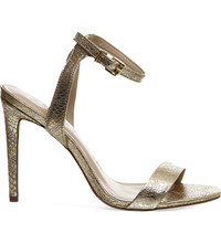 Office Alana Snake Embossed Leather Sandals Gold Snake Leather