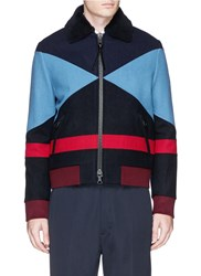 Valentino X Esther Stewart Colourblock Fur Collar Wool Jacket Multi Colour Blue