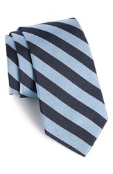 Gitman Brothers Vintage Men's Stripe Silk Tie Light Blue