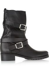 Maje Quilted Leather Biker Boots Black