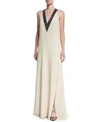 Brunello Cucinelli V Neck Silk Crepe Halter Gown Butter Yellow Women's