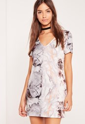 Missguided Plunge Marble Shift Dress Multi Multi