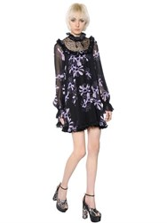 Giamba Printed Tulle And Silk Georgette Dress