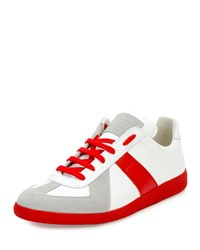 Maison Martin Margiela Replica Colorblock Low Top Sneaker White Red
