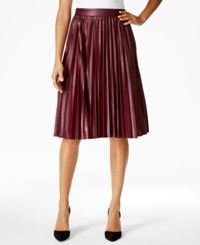 Grace Elements Faux Leather Pleated Skirt Deep Merlot Red