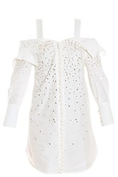 Proenza Schouler Embroidered Poplin Dress White