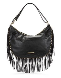 Kensie Fringed Faux Leather Hobo Bag Black