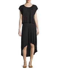 Three Dots Cap Sleeve Popover High Low Dress Black