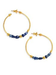 Gurhan Delicate Rain Blue Sapphire And 24K Yellow Gold Hoop Earrings 1.5
