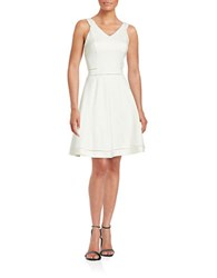 French Connection Solid V Neck Fit And Flare Dress Summer White