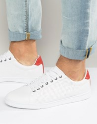 Pull And Bear Pullandbear Faux Leather Perforated Trainers In White White