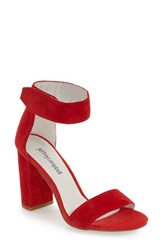 Women's Jeffrey Campbell 'Lindsay' Ankle Strap Sandal Red Suede