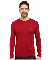 Lacoste Long Sleeve Pima Jersey Crew Neck Tee Shirt Bordeaux Men's T Shirt Burgundy