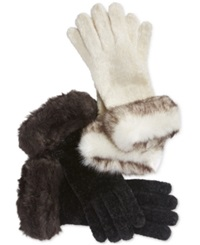 Charter Club Chenille And Faux Fur Gloves Only At Macy's Black