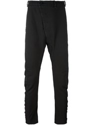 Masnada Drop Crotch Slim Fit Trousers Black