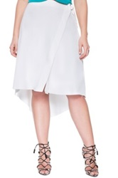Eloquii Faux Wrap High Low Crepe Skirt Plus Size White