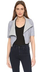 Yigal Azrouel Short Sleeve Leather Jacket Heather Grey