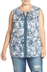Caslon Plus Size Women's Lace Trim Print Woven Split Neck Tank
