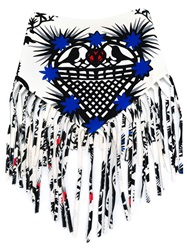 Msgm Printed Fringed Scarf White