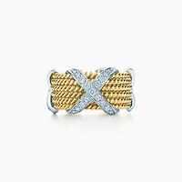 Tiffany And Co. Schlumberger Rope Six Row X Ring With Diamonds. Platinum