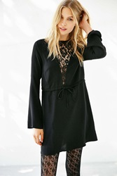 Oh My Love Lace Inset Bell Sleeve Mini Dress Black